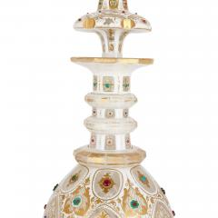 Pair of Persian style jewelled white overlay glass decanters - 1243302