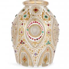 Pair of Persian style jewelled white overlay glass decanters - 1243304