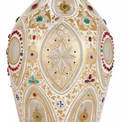 Pair of Persian style jewelled white overlay glass decanters - 1243305