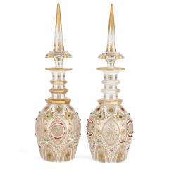 Pair of Persian style jewelled white overlay glass decanters - 1243306