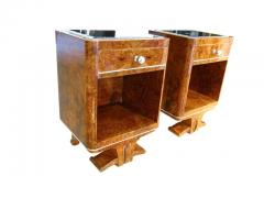 Pair of Petite Art Deco Nightstands Amboyna Roots France circa 1930 - 1488060