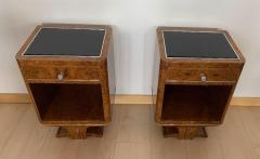 Pair of Petite Art Deco Nightstands Amboyna Roots France circa 1930 - 1488064