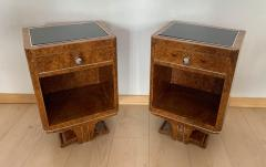 Pair of Petite Art Deco Nightstands Amboyna Roots France circa 1930 - 1488070
