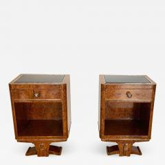 Pair of Petite Art Deco Nightstands Amboyna Roots France circa 1930 - 1509157