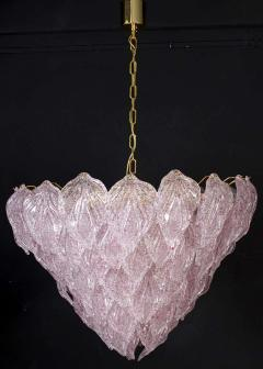 Pair of Pink Murano Glass Polar Chandelier Italy 1970s - 1574699