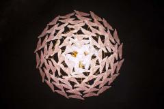 Pair of Pink Murano Glass Polar Chandelier Italy 1970s - 1574702
