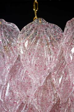 Pair of Pink Murano Glass Polar Chandelier Italy 1970s - 1574707