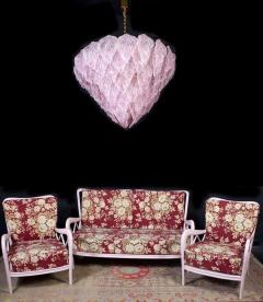 Pair of Pink Murano Glass Polar Chandelier Italy 1970s - 1574715