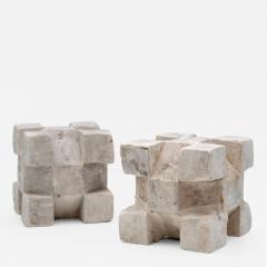 Pair of Plaster Geometric Models - 1671062