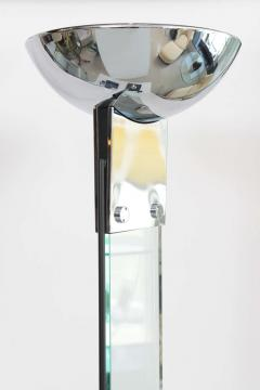 Pair of Polished Chrome and Glass Floor Lamps manner of Fontana Arte - 41207