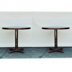 Pair of Polished Steel and Antiviral Raw Copper Top Gueridon Side Tables - 1402878