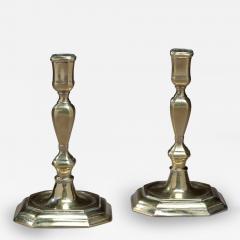 Pair of Queen Anne Octagonal Base Brass Candlesticks - 69460