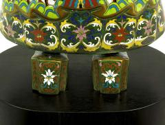 Pair of Rare 49 Tall Cloisonne Vessel Bearing Figures On Walnut Pedestals - 231678