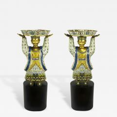 Pair of Rare 49 Tall Cloisonne Vessel Bearing Figures On Walnut Pedestals - 231933