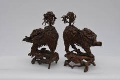 Pair of Rare Chinese Carved Wood Foo Dogs - 920392