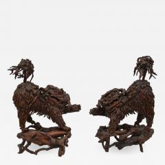 Pair of Rare Chinese Carved Wood Foo Dogs - 920762