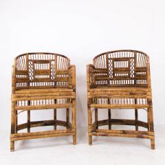 Pair of Rattan Chinoiserie Armchairs - 462180
