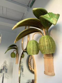 Pair of Rattan Palm Tree Sconces France 1980s - 1183888