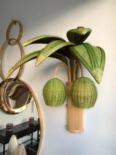 Pair of Rattan Palm Tree Sconces France 1980s - 1183889