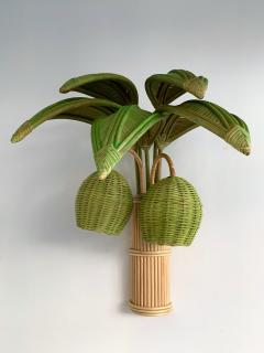 Pair of Rattan Palm Tree Sconces France 1980s - 1183900