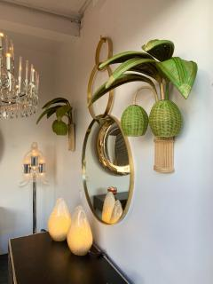 Pair of Rattan Palm Tree Sconces France 1980s - 1183901