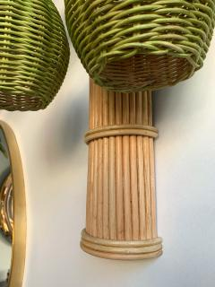 Pair of Rattan Palm Tree Sconces France 1980s - 1183902