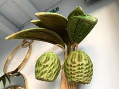 Pair of Rattan Palm Tree Sconces France 1980s - 1183903