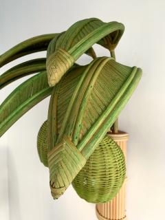 Pair of Rattan Palm Tree Sconces France 1980s - 1183904