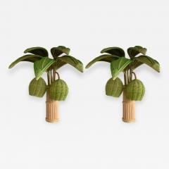 Pair of Rattan Palm Tree Sconces France 1980s - 1184903