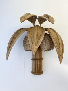 Pair of Rattan Palm Tree Sconces France 1980s - 2001437
