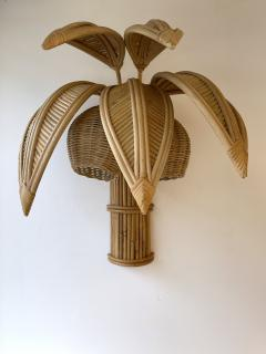 Pair of Rattan Palm Tree Sconces France 1980s - 2001438
