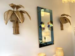 Pair of Rattan Palm Tree Sconces France 1980s - 2001439