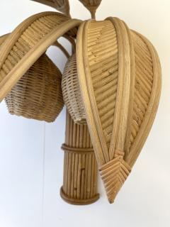 Pair of Rattan Palm Tree Sconces France 1980s - 2001443