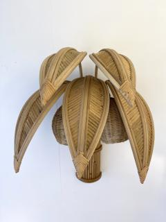 Pair of Rattan Palm Tree Sconces France 1980s - 2001444