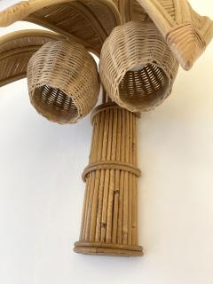 Pair of Rattan Palm Tree Sconces France 1980s - 2001446