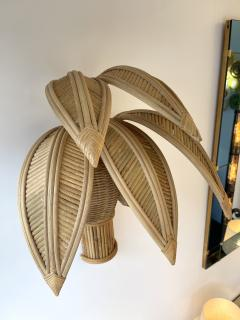 Pair of Rattan Palm Tree Sconces France 1980s - 2001449