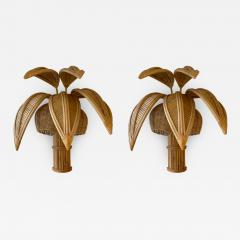 Pair of Rattan Palm Tree Sconces France 1980s - 2002723