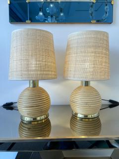 Pair of Rattan and Brass Lamps Italy 1970s - 1992249