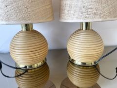 Pair of Rattan and Brass Lamps Italy 1970s - 1992250