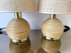 Pair of Rattan and Brass Lamps Italy 1970s - 1992251