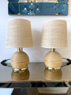 Pair of Rattan and Brass Lamps Italy 1970s - 1992254