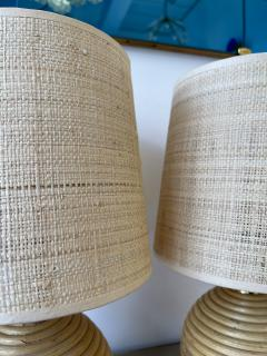 Pair of Rattan and Brass Lamps Italy 1970s - 1992255