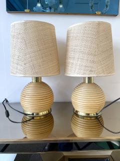 Pair of Rattan and Brass Lamps Italy 1970s - 1992256