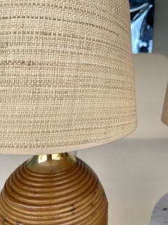 Pair of Rattan and Brass Lamps Italy 1970s - 2020209