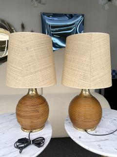 Pair of Rattan and Brass Lamps Italy 1970s - 2020210