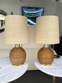 Pair of Rattan and Brass Lamps Italy 1970s - 2020211