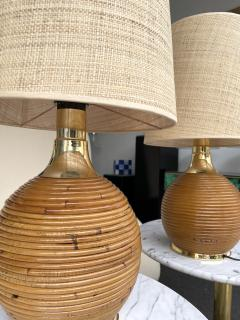 Pair of Rattan and Brass Lamps Italy 1970s - 2020212