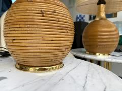 Pair of Rattan and Brass Lamps Italy 1970s - 2020214