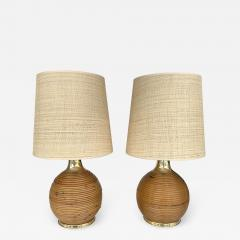 Pair of Rattan and Brass Lamps Italy 1970s - 2022424
