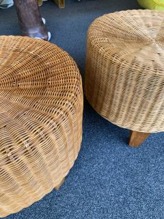 Pair of Rattan and Wood Poufs Stools Italy 1980s - 2060897